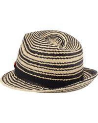 Noel Stewart - Stripe Panama Straw Fedora - Lyst