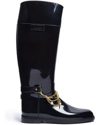 Moschino Cheap & Chic Flat Rain Boot with Detachable Pearl Chain - Lyst