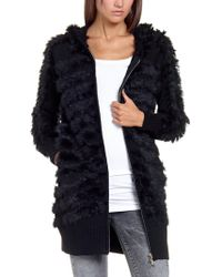 Patrizia Pepe Macrocardigan Coat in Knitted Wool with Real Rabbit Fur and Hood - Lyst