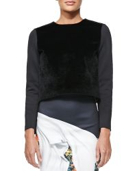 Clover Canyon Ponte Faux Fur Top - Lyst
