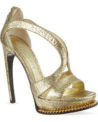 Alexander McQueen Gold Armadillo Sandals - Lyst