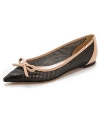 Casadei Pointed Perf Leather Flats - Blacknude - Lyst