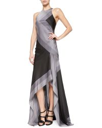 Halston Sleeveless Scarf-print High-low Gown - Lyst