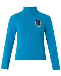 House Of Holland Intarsiabadge Rollneck Sweater - Lyst