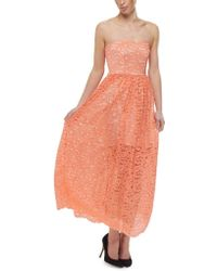 MSGM Long Lace Dress - Lyst