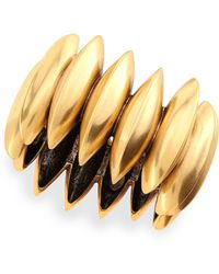Oscar de la Renta Golden Ridged Disc Bracelet - Lyst