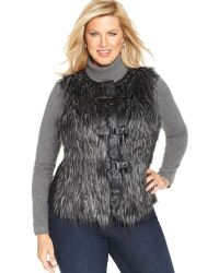 Jones New York Signature Plus Size Faux-fur Vest - Lyst