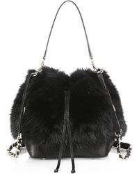 Alice + Olivia Shearling & Leather Bucket Bag - Lyst