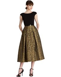 Theia Animal Print Pleated A-Line Dress - Lyst