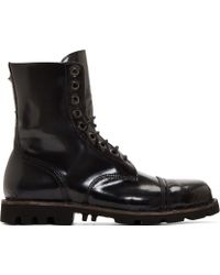 Diesel Black Aged Leather Hardkor Boots - Lyst