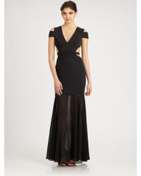 BCBGMAXAZRIA Chiffon-Trimmed Cutout Gown - Lyst