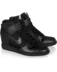Nike  Undercover Dunk Sky Hi Leather and Faux Calf Hair Sneakers - Lyst