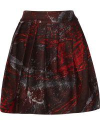 Halston Heritage Printed Pleated Silk-twill Skirt - Lyst