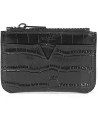 Vince - Black Leather Croc Stamped Key Pouch - Lyst