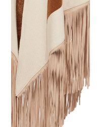 Barbajada - Leather Fringe Shawl In Dakar And Champagne - Lyst