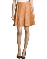 Diane Von Furstenberg Riley Lambskin Leather Skirt - Lyst