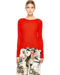 Donna Karan New York Long Sleeve Crew Neck Sweater - Lyst