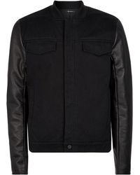 T By Alexander Wang - Leather Sleeve Denim Jacket - Lyst