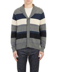 Barneys New York Stripe Shawl-Collar Cardigan gray - Lyst
