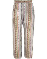 Etro Frayed Printed Twill Tapered Pants - Lyst