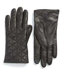 Echo - 'touch' Quilted Leather Tech Gloves - Lyst