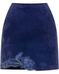 Blumarine Embroidered Goat Leather Skirt - Lyst