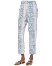 Equipment Python-Print Pleated Ankle Pants - Lyst