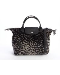 Longchamp Bronze and Black Printed Le Pliage Convertible Tote - Lyst