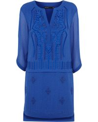 Karen Millen Graphic Embroidery Dress - Lyst