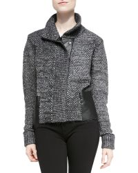 7 For All Mankind Marled Leather-trim Sweater Jacket - Lyst