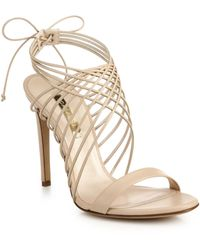 Casadei Criss-Cross Leather Ankle-Tie Sandals - Lyst