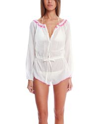 Loveshackfancy Bali Embroidery Playsuit white - Lyst