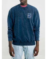 Topman Navy Sfca Washed Sweatshirt - Lyst