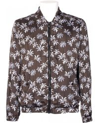MSGM Satin Viscose Jacket Palms Print black - Lyst