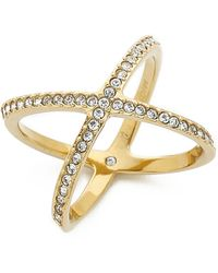 Michael Kors - Pave X Midi Ring - Gold/Clear - Lyst