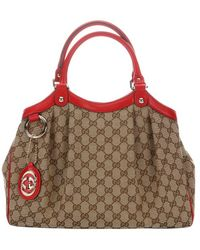 Gucci Beige and Red Gg Canvas Sukey Top Handle Bag - Lyst