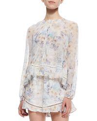Zimmermann Floral-Print Layered Short Jumpsuit - Lyst