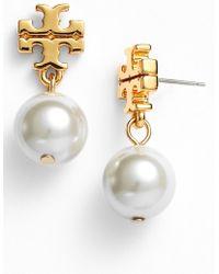 Tory Burch Faux Pearl Drop Earrings - Lyst