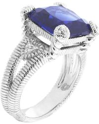 Judith Ripka Corundum & Diamond Fontaine Sterling Silver Ring Size 8 blue - Lyst
