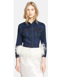 Burberry Prorsum Ostrich Feather Hem Denim Jacket blue - Lyst