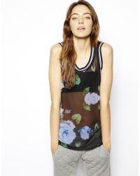 Asos Vest in Floral Chiffon with Black and White Rib - Lyst