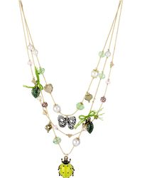 Betsey Johnson Crystal Bug Bow Illusion Necklace - Lyst