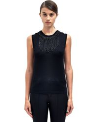 Lanvin Womens Embellished Sleeveless Knit Top - Lyst