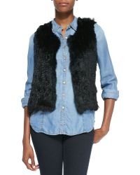 525 America Sleeveless Short Fur Vest - Lyst