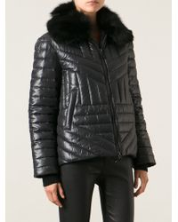 Moschino Cheap & Chic Fur Collar Padded Jacket - Lyst