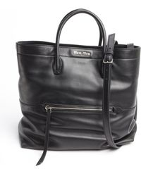 Miu Miu Black Leather Zipper Detail Convertible Shoulder Bag - Lyst