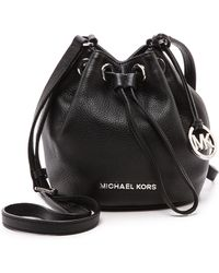 MICHAEL Michael Kors - Jules Black Soft Leather Drawstring Crossbody Bag - Lyst
