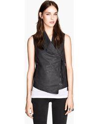 H&M Gray Biker Waistcoat - Lyst