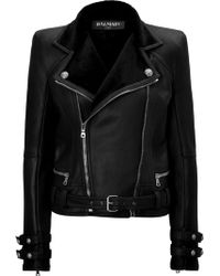 Balmain Leather Biker Jacket with Shearling Lining - Lyst