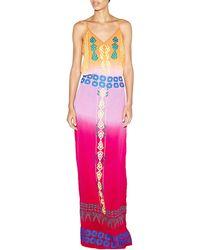 Nicole Miller Artelier - Sleeveless Tribal-embroidered Maxi Dress - Lyst